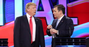 CORAL GABLES, FL - MARCH 10:  Republican presidential candidates Donald Trump and Sen. Ted Cruz (R-TX), talk during a broadcast break in the CNN, Salem Media Group, The Washington Times Republican Presidential Primary Debate on the campus of the University of Miami on March 10, 2016 in Coral Gables, Florida. The candidates continue to campaign before the March 15th Florida primary.  (Photo by Joe Raedle/Getty Images)